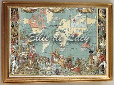 World Map Victorian Period WM Ellie De Lacy Miniatures - Victorian world map